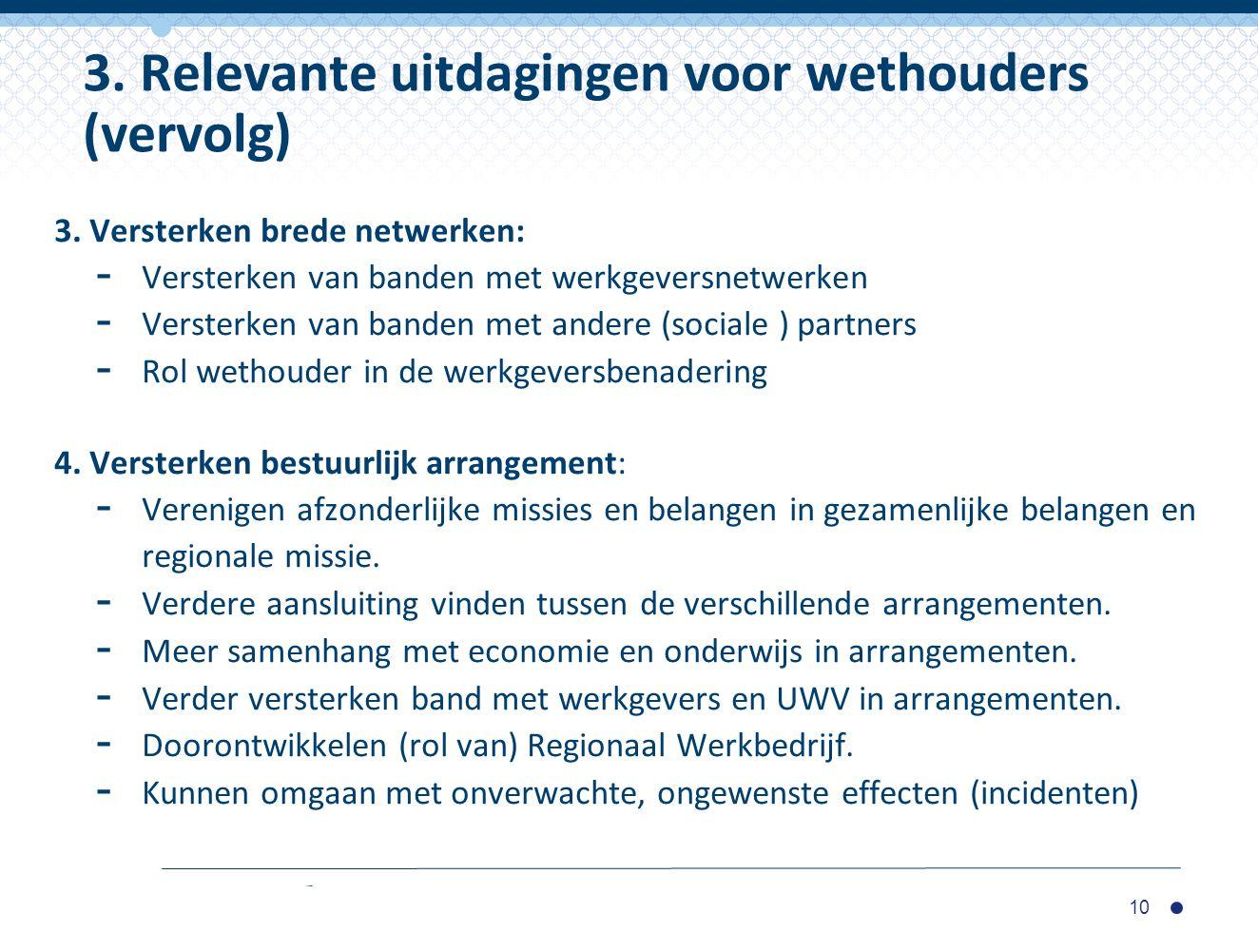 3. Relevante uitdagingen voor wethouders (vervolg)