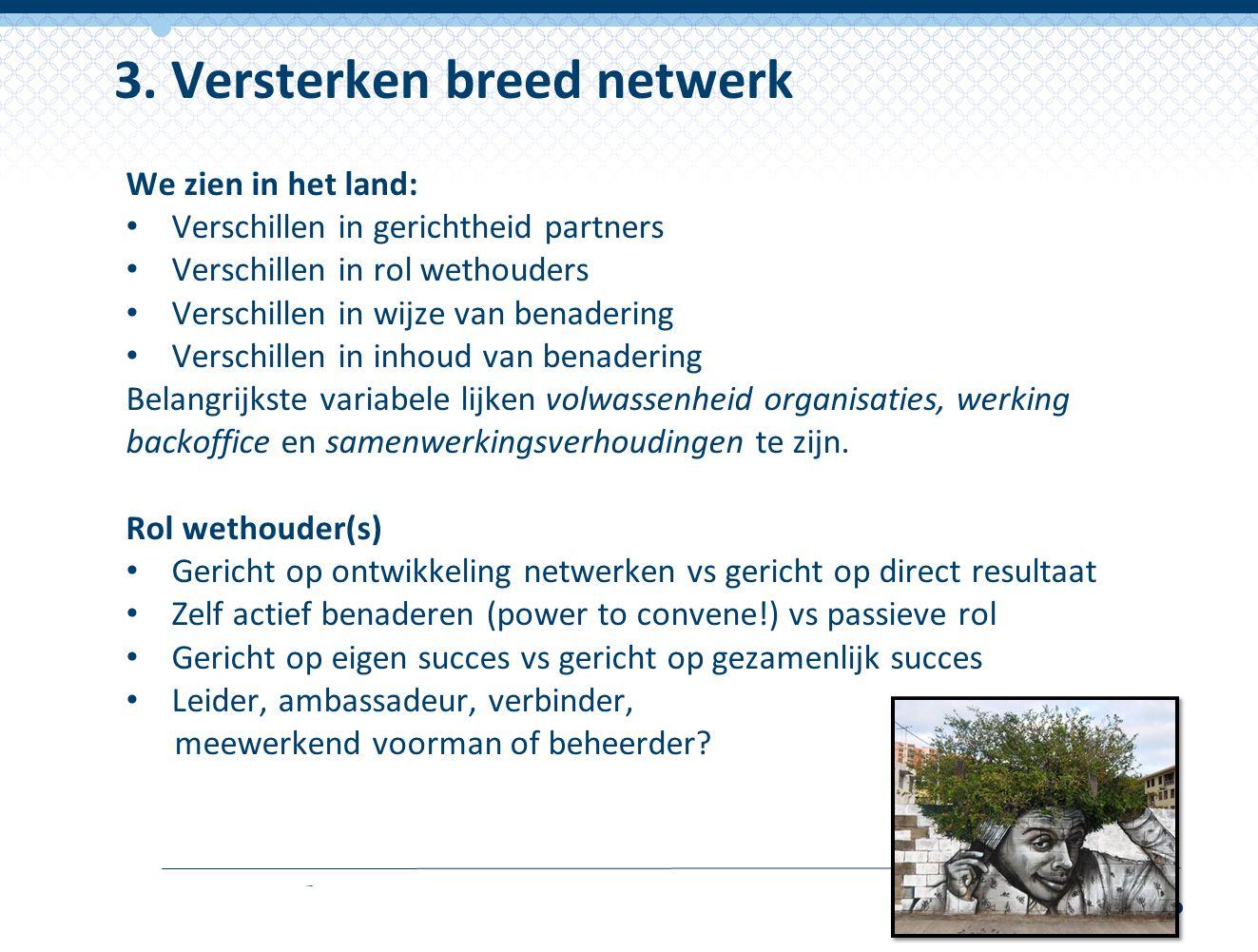 3. Versterken breed netwerk