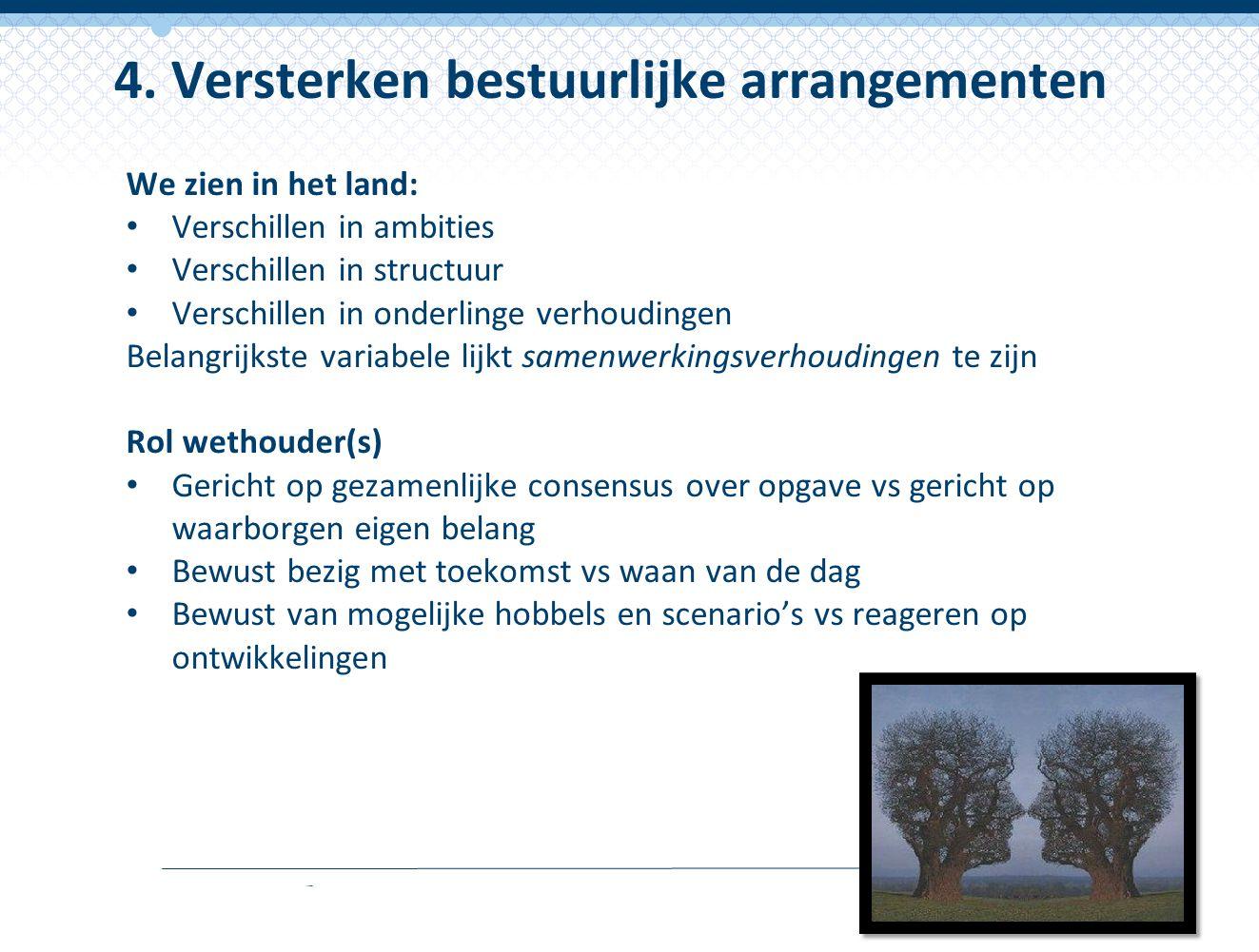4. Versterken bestuurlijke arrangementen