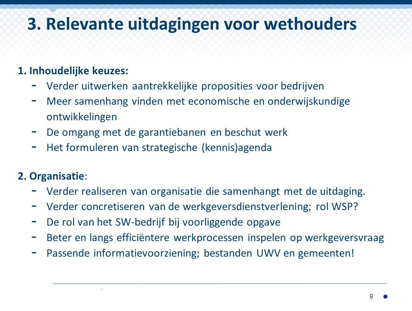 3. Relevante uitdagingen voor wethouders