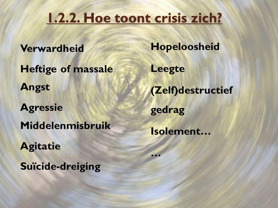 1.2.2. Hoe toont crisis zich Verwardheid Heftige of massale Angst Agressie Middelenmisbruik Agitatie Suïcide-dreiging