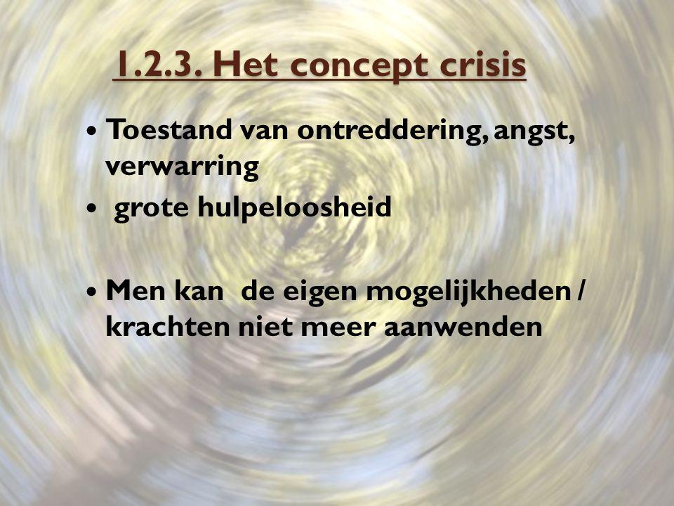 1.2.3. Het concept crisis Toestand van ontreddering, angst, verwarring