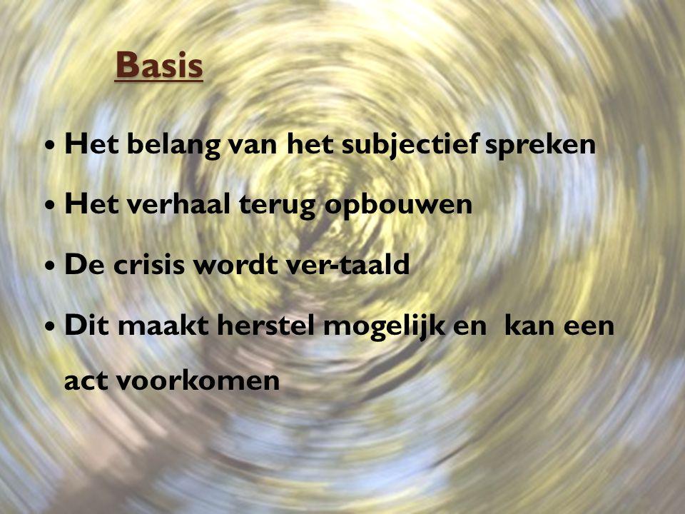 Basis Het belang van het subjectief spreken Het verhaal terug opbouwen