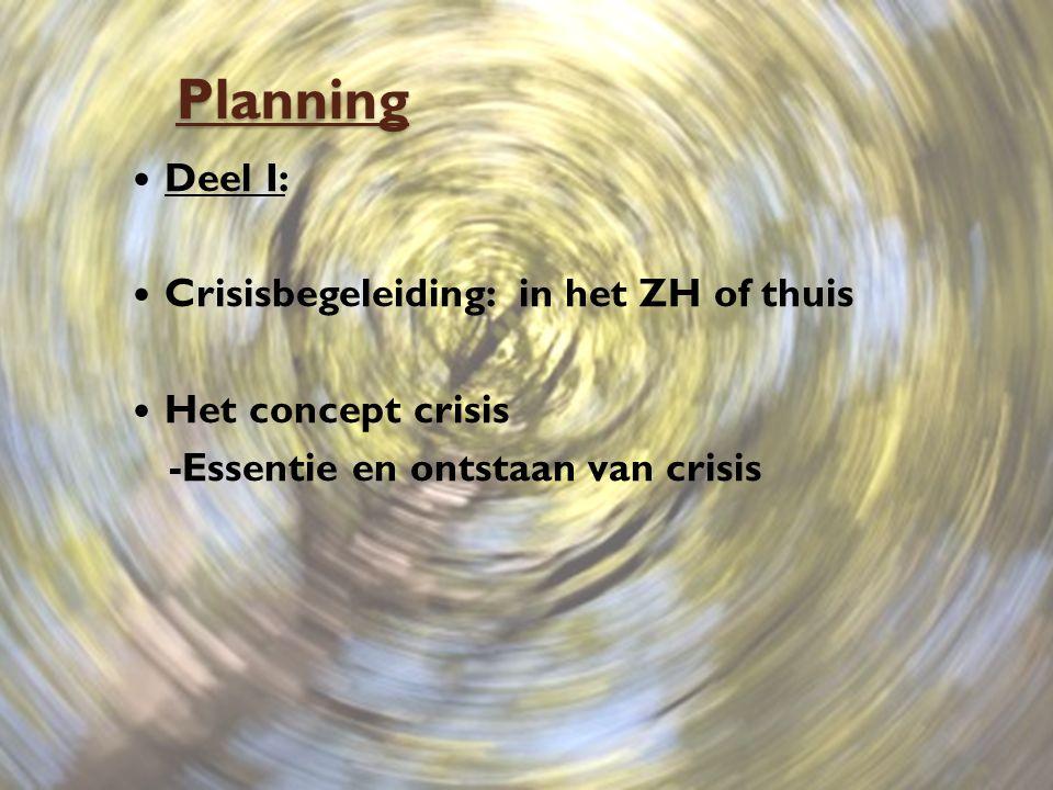 Planning Deel I: Crisisbegeleiding: in het ZH of thuis