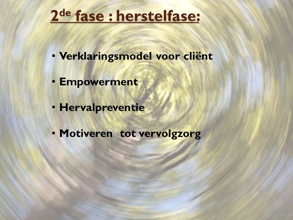 2de fase : herstelfase: Verklaringsmodel voor cliënt Empowerment