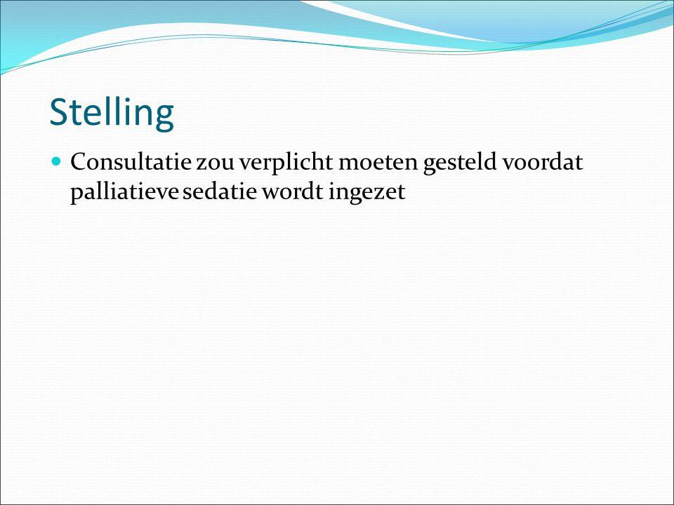 Stelling Consultatie zou verplicht moeten gesteld voordat palliatieve sedatie wordt ingezet