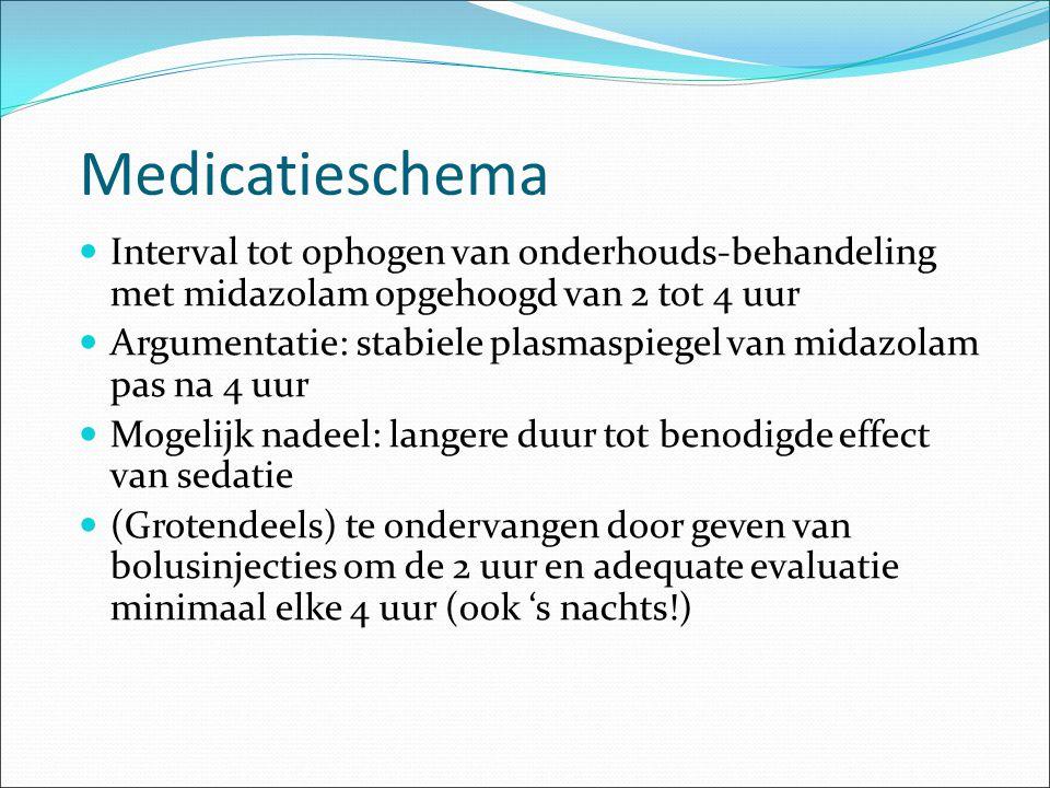 Medicatieschema Interval tot ophogen van onderhouds-behandeling met midazolam opgehoogd van 2 tot 4 uur.