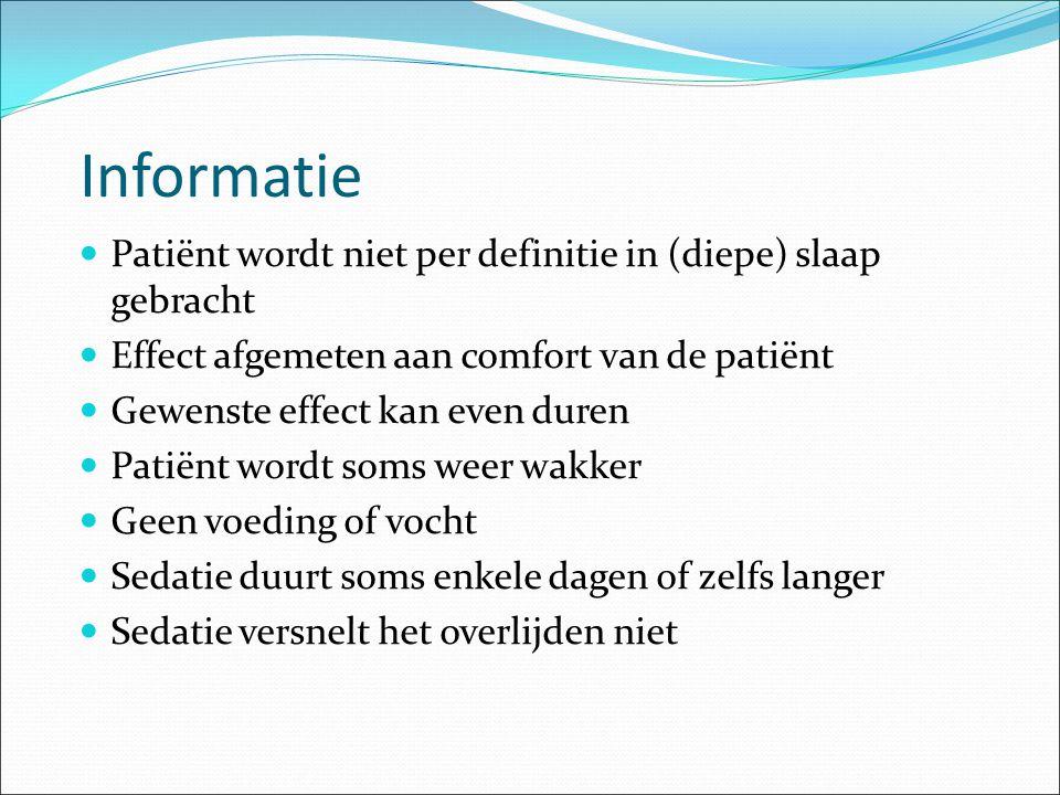 Informatie Patiënt wordt niet per definitie in (diepe) slaap gebracht
