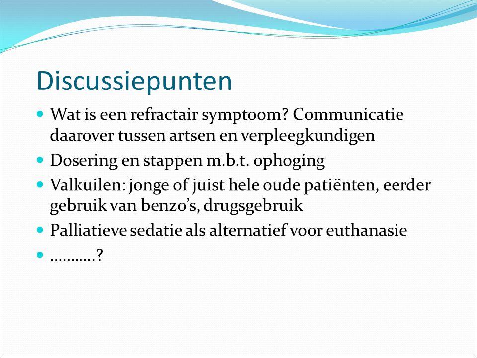 Discussiepunten Wat is een refractair symptoom Communicatie daarover tussen artsen en verpleegkundigen.