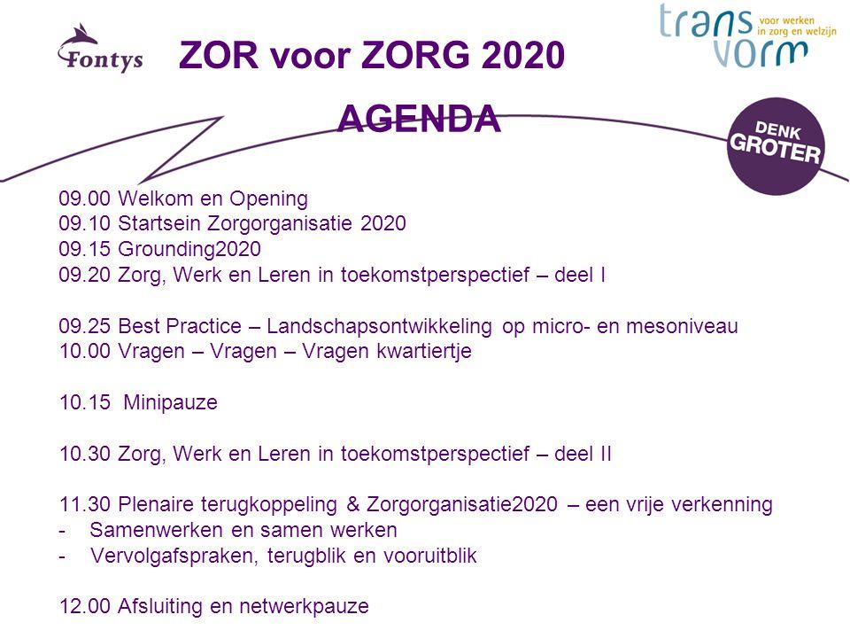 ZOR voor ZORG 2020 AGENDA 09.00 Welkom en Opening
