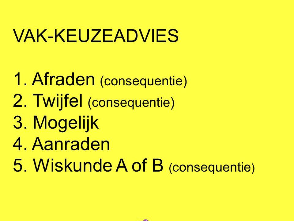 VAK-KEUZEADVIES 1. Afraden (consequentie) 2. Twijfel (consequentie) 3.