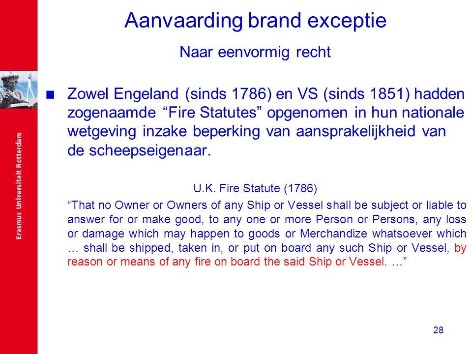 Aanvaarding brand exceptie