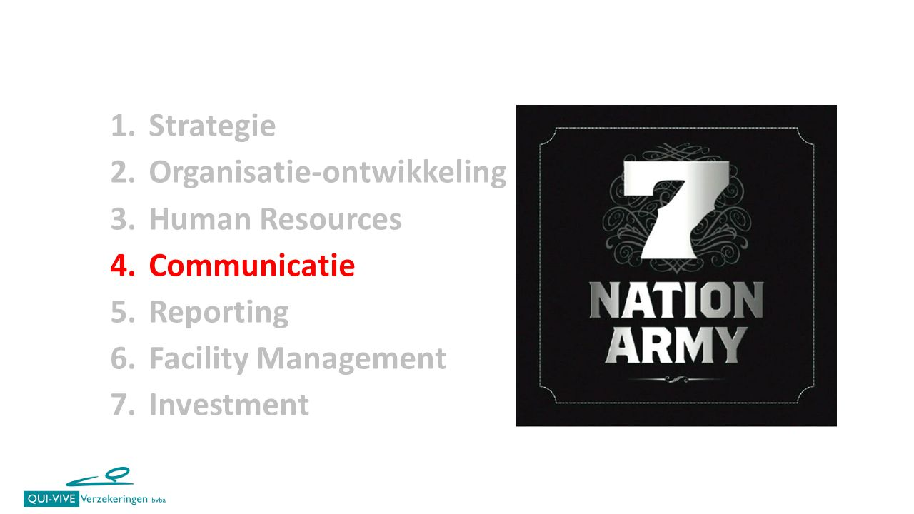 Strategie Organisatie-ontwikkeling. Human Resources. Communicatie. Reporting. Facility Management.