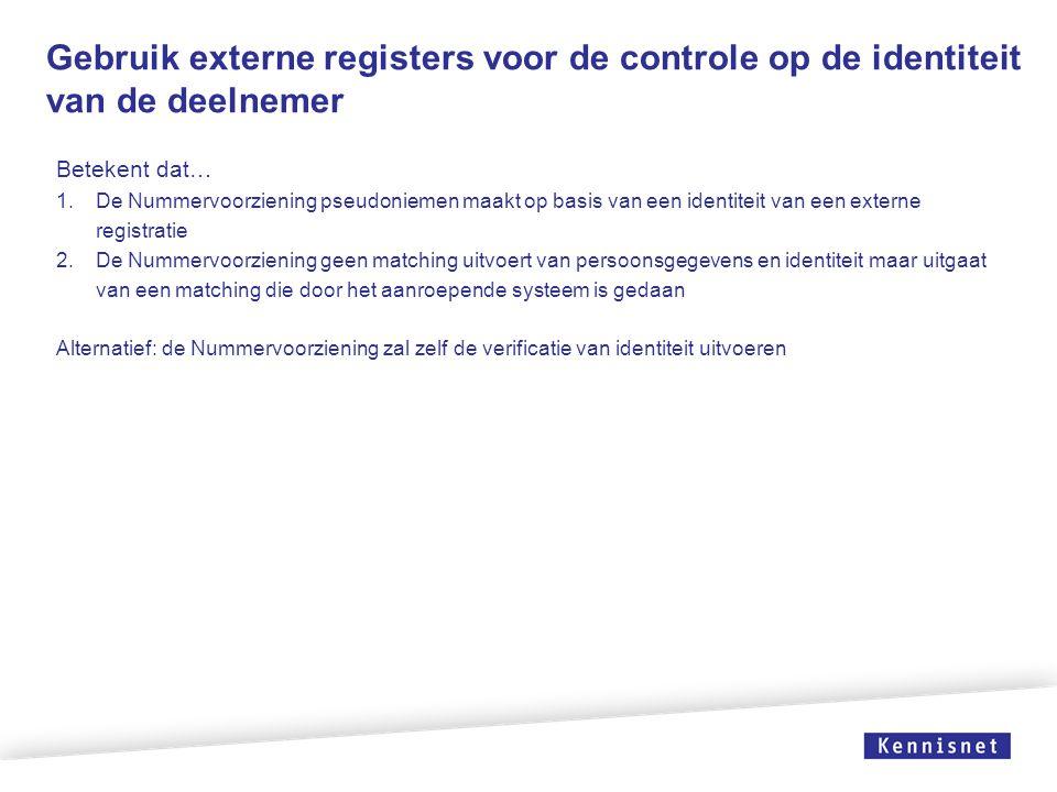 Gebruik externe registers voor de controle op de identiteit van de deelnemer