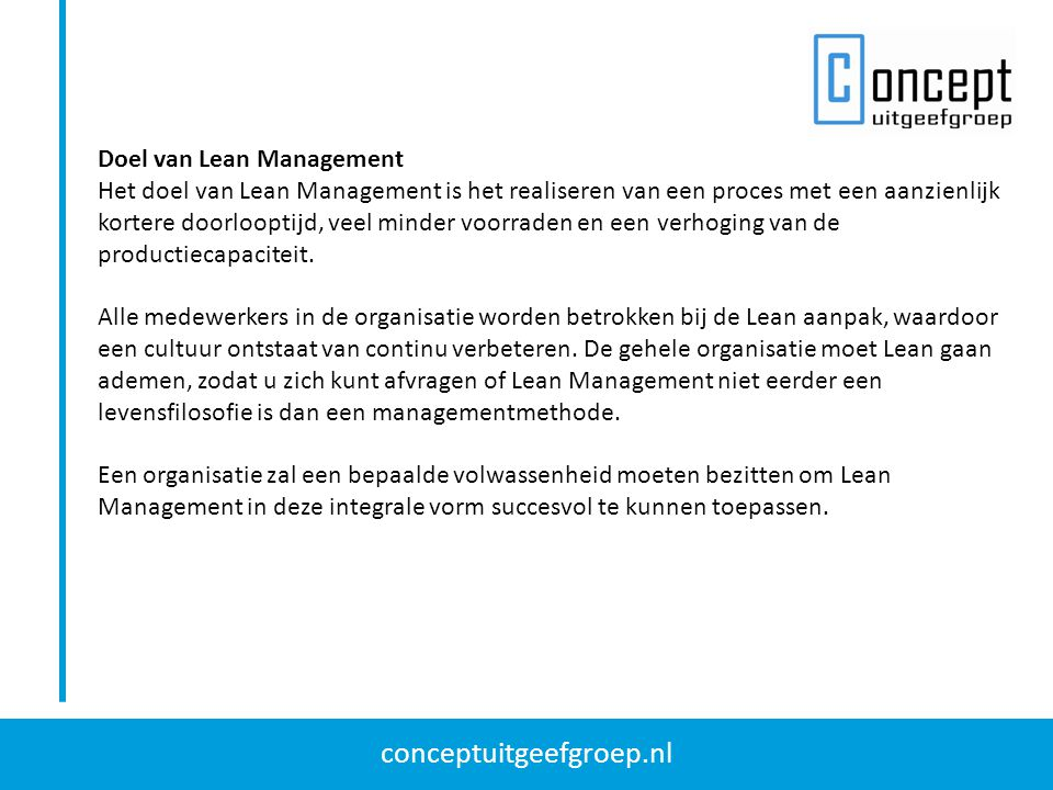 Doel van Lean Management