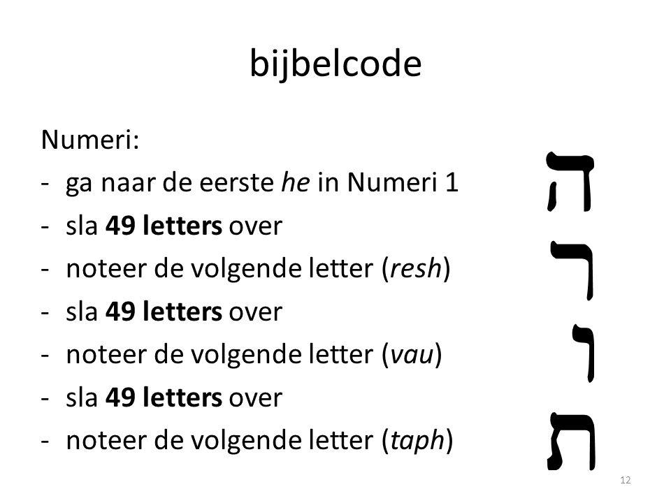 bijbelcode Numeri: ga naar de eerste he in Numeri 1