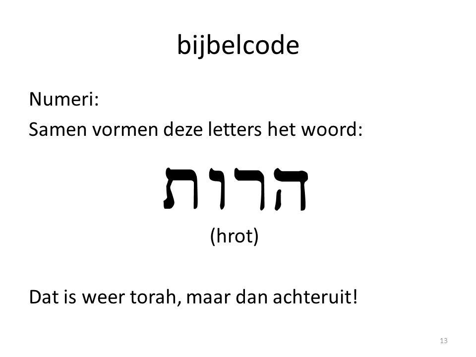 bijbelcode Numeri: Samen vormen deze letters het woord: (hrot) Dat is weer torah, maar dan achteruit.