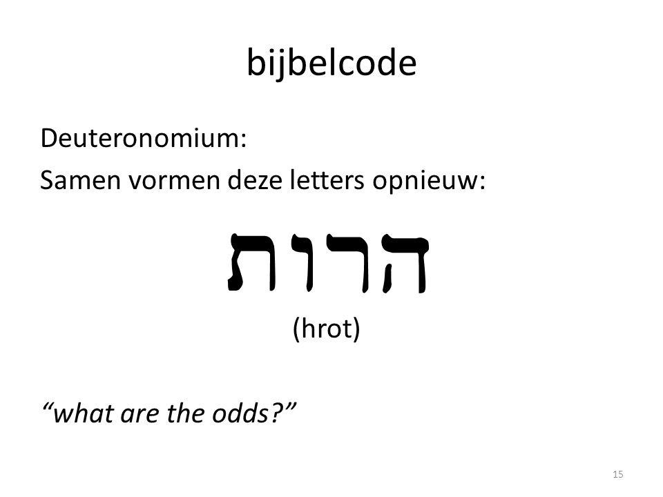 bijbelcode Deuteronomium: Samen vormen deze letters opnieuw: (hrot) what are the odds