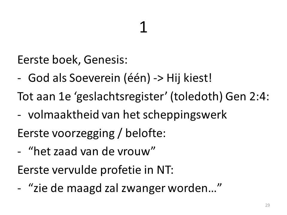 1 Eerste boek, Genesis: God als Soeverein (één) -> Hij kiest!