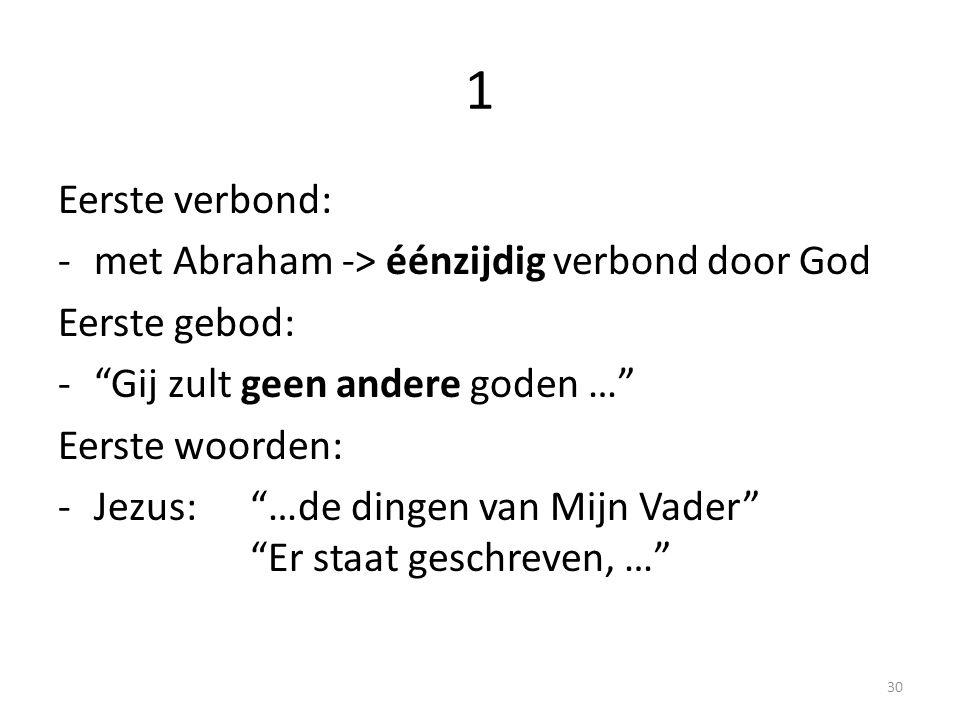 1 Eerste verbond: met Abraham -> éénzijdig verbond door God