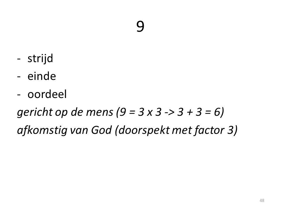 9 strijd einde oordeel gericht op de mens (9 = 3 x 3 -> 3 + 3 = 6)
