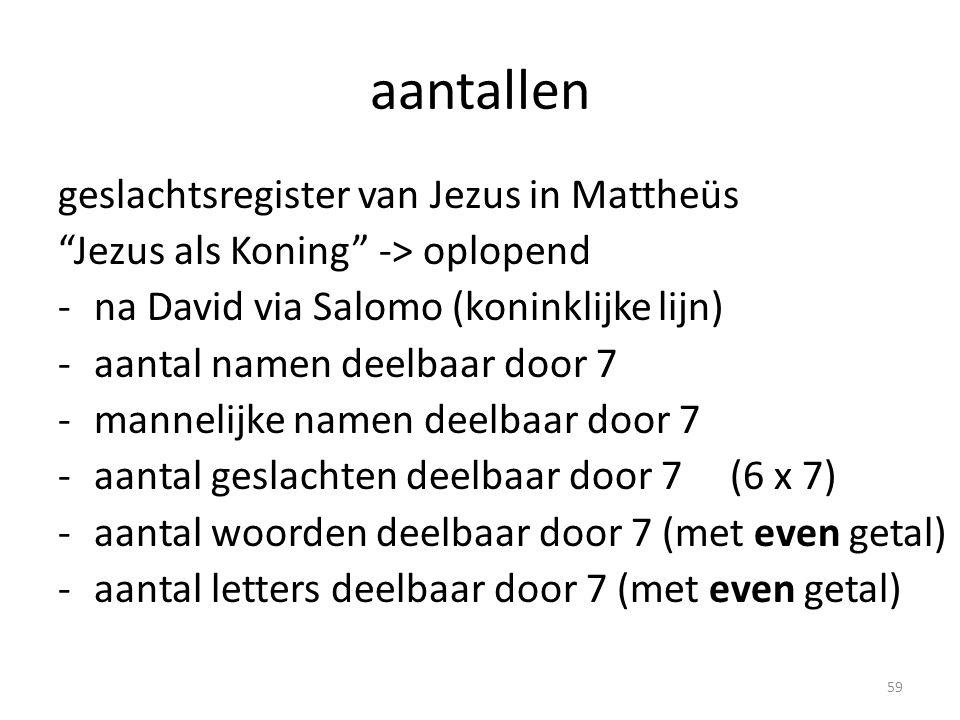 aantallen geslachtsregister van Jezus in Mattheüs