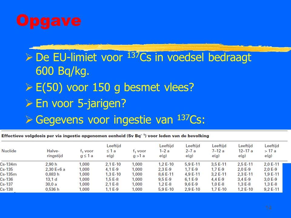 Opgave De EU-limiet voor 137Cs in voedsel bedraagt 600 Bq/kg.