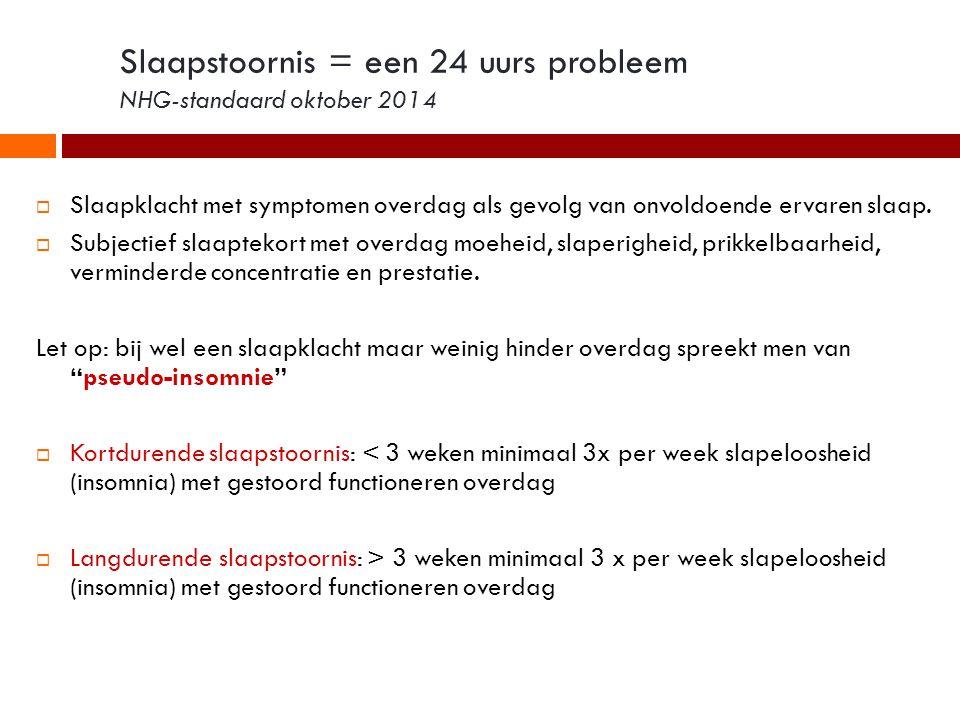 Slaapstoornis = een 24 uurs probleem NHG-standaard oktober 2014