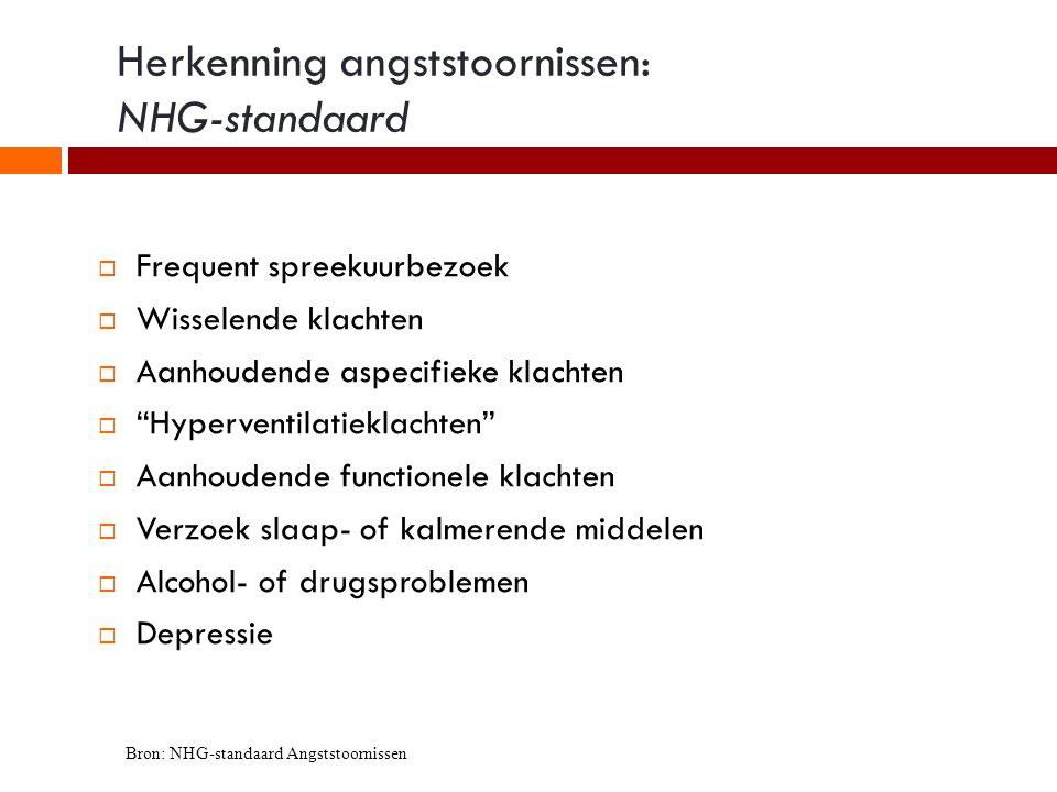 Herkenning angststoornissen: NHG-standaard