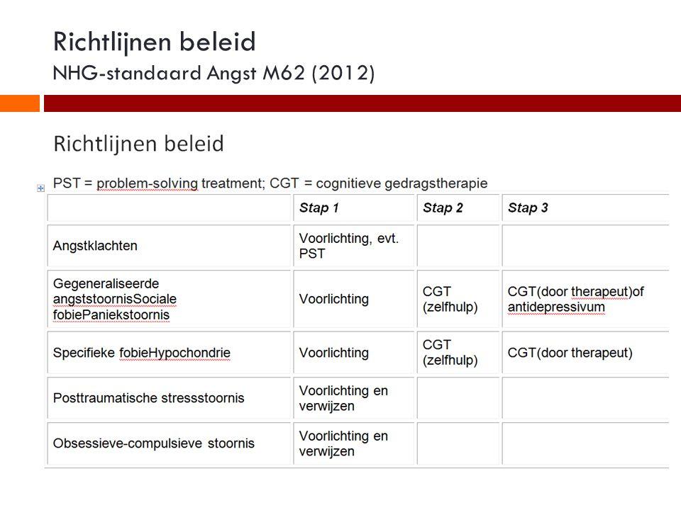 Richtlijnen beleid NHG-standaard Angst M62 (2012)