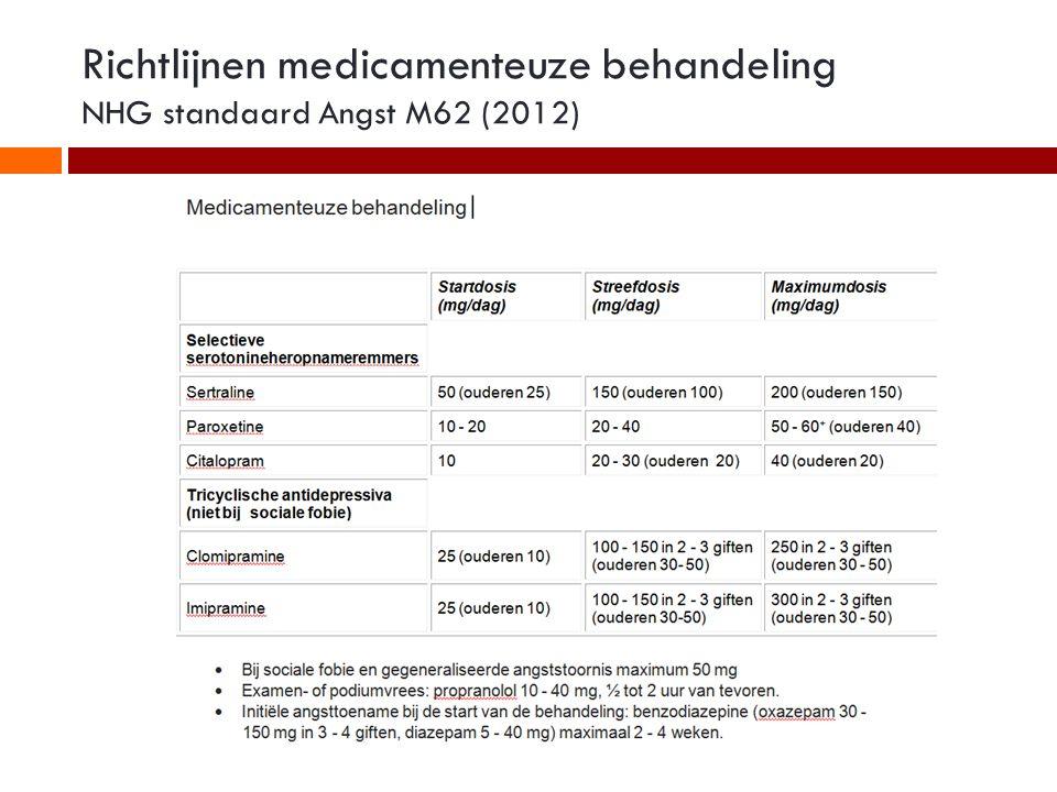 Richtlijnen medicamenteuze behandeling NHG standaard Angst M62 (2012)