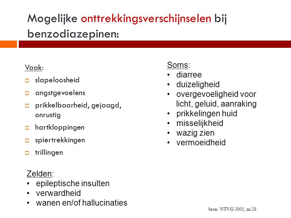 Mogelijke onttrekkingsverschijnselen bij benzodiazepinen: