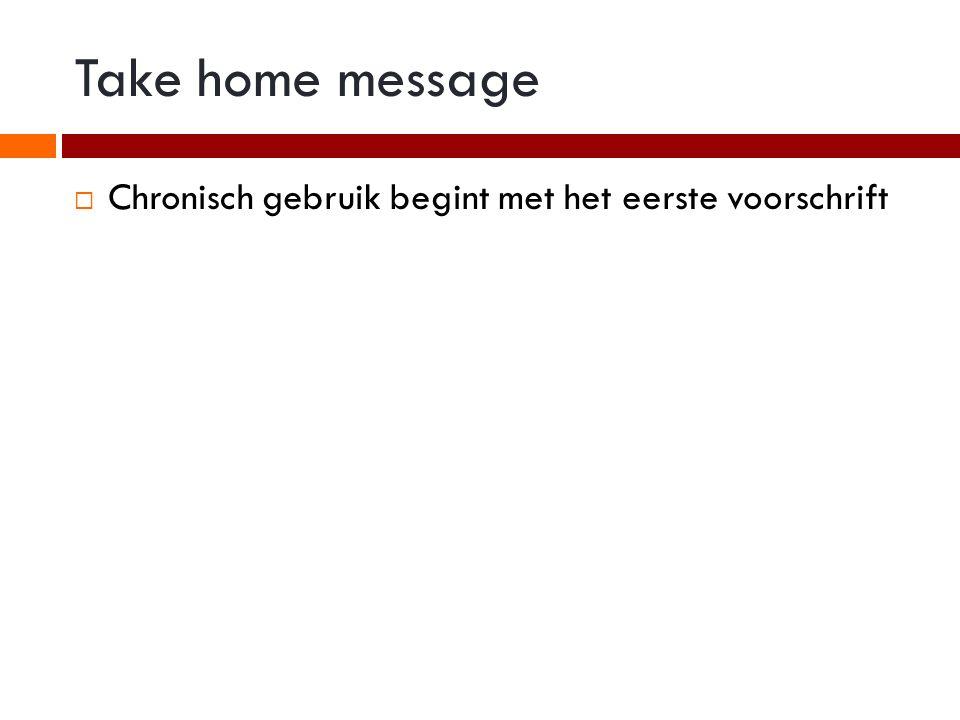 Take home message Chronisch gebruik begint met het eerste voorschrift