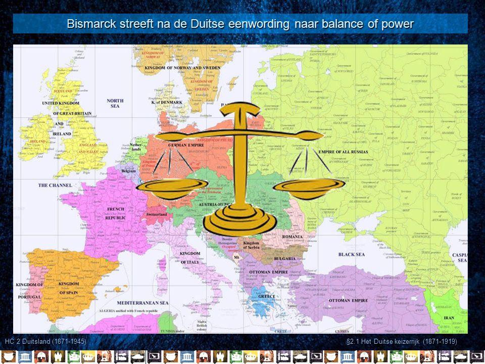 Bismarck streeft na de Duitse eenwording naar balance of power