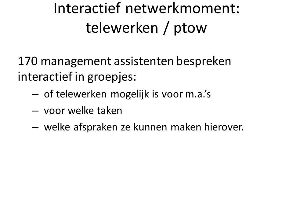 Interactief netwerkmoment: telewerken / ptow