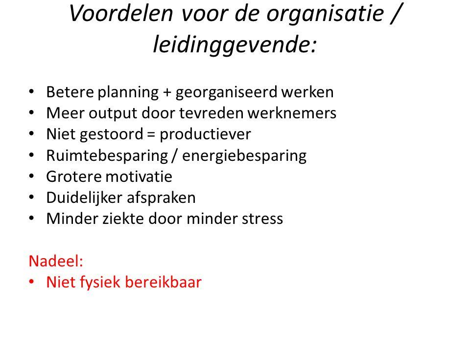 Voordelen voor de organisatie / leidinggevende: