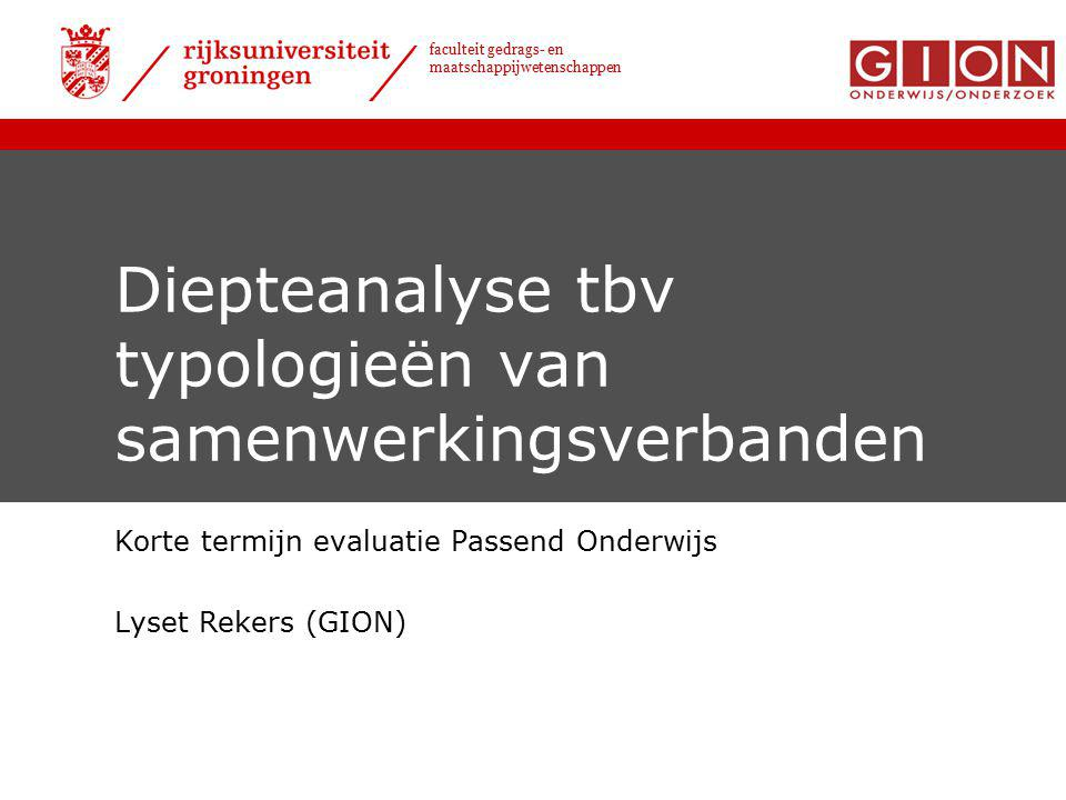 Diepteanalyse tbv typologieën van samenwerkingsverbanden