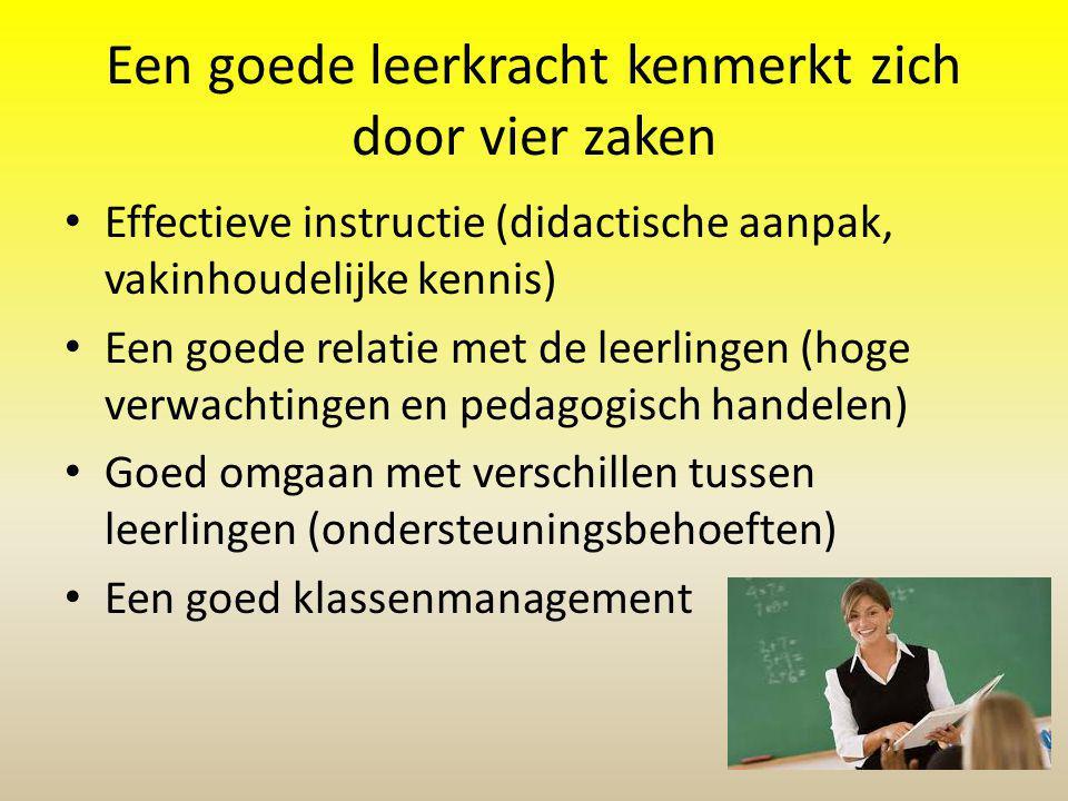 Een goede leerkracht kenmerkt zich door vier zaken