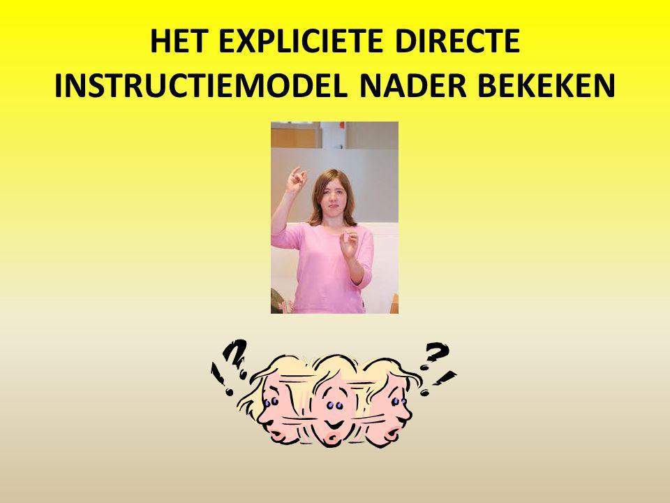 Het EXPLICIETE directe instructiemodel nader bekeken
