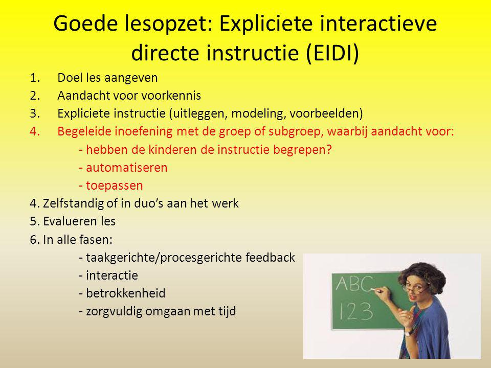 Goede lesopzet: Expliciete interactieve directe instructie (EIDI)