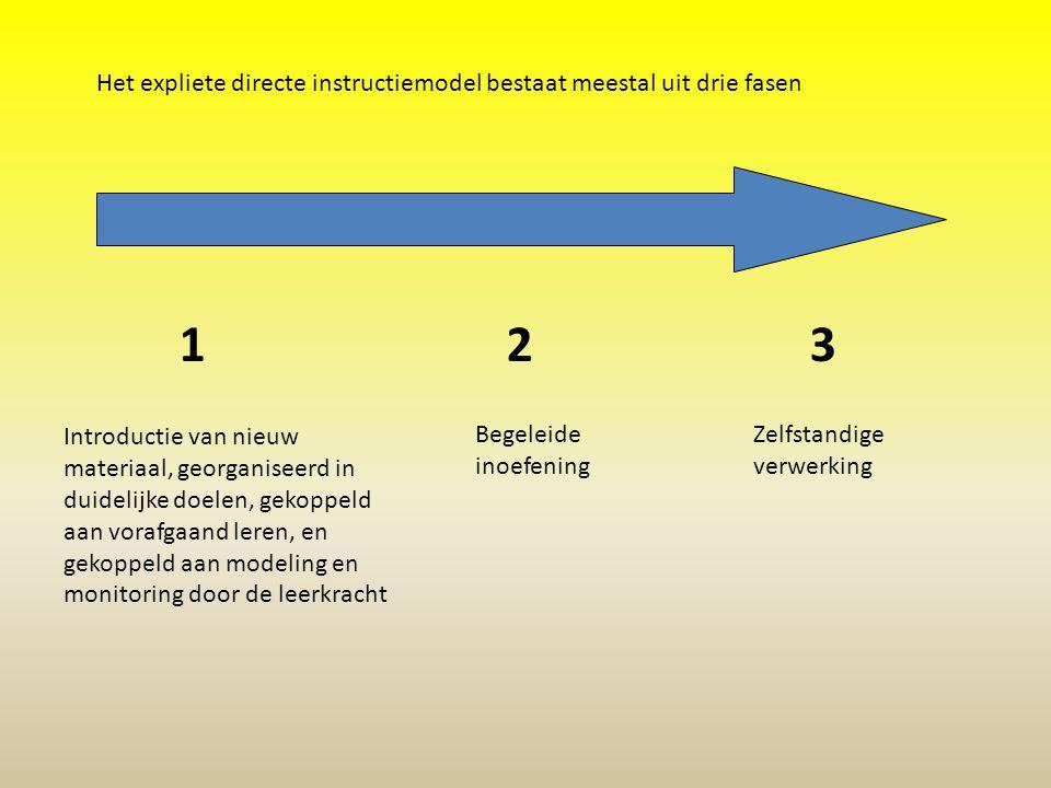 Het expliete directe instructiemodel bestaat meestal uit drie fasen