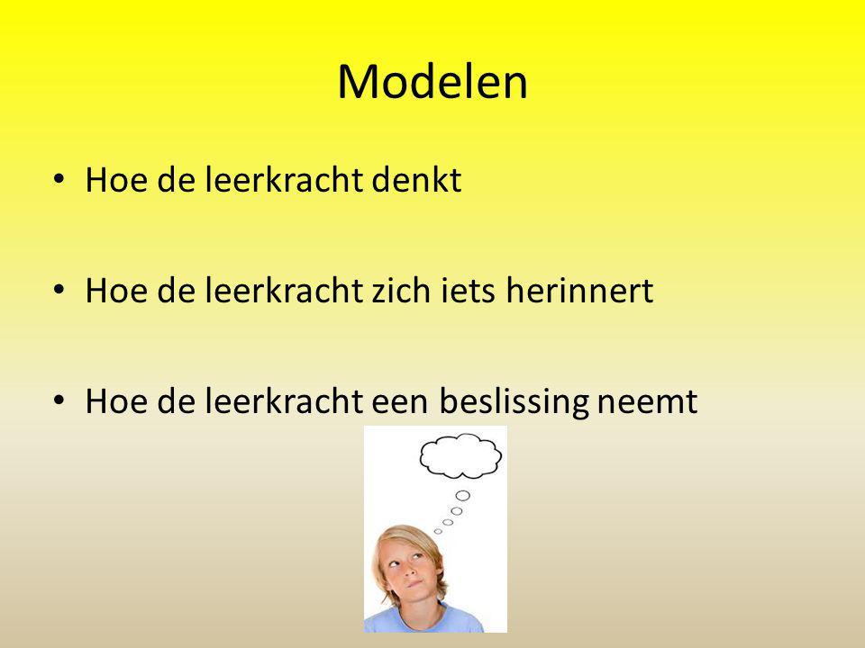 Modelen Hoe de leerkracht denkt Hoe de leerkracht zich iets herinnert