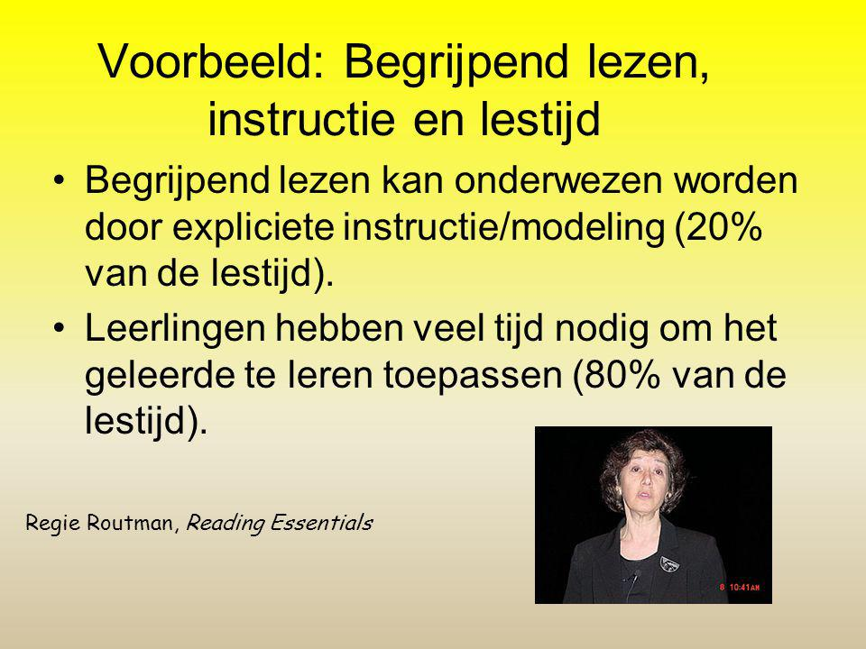 Voorbeeld: Begrijpend lezen, instructie en lestijd
