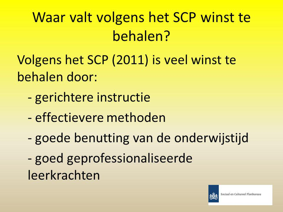 Waar valt volgens het SCP winst te behalen