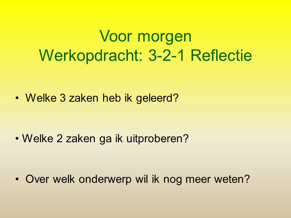 Werkopdracht: 3-2-1 Reflectie