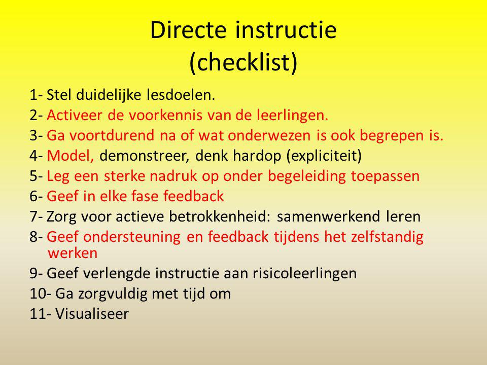 Directe instructie (checklist)