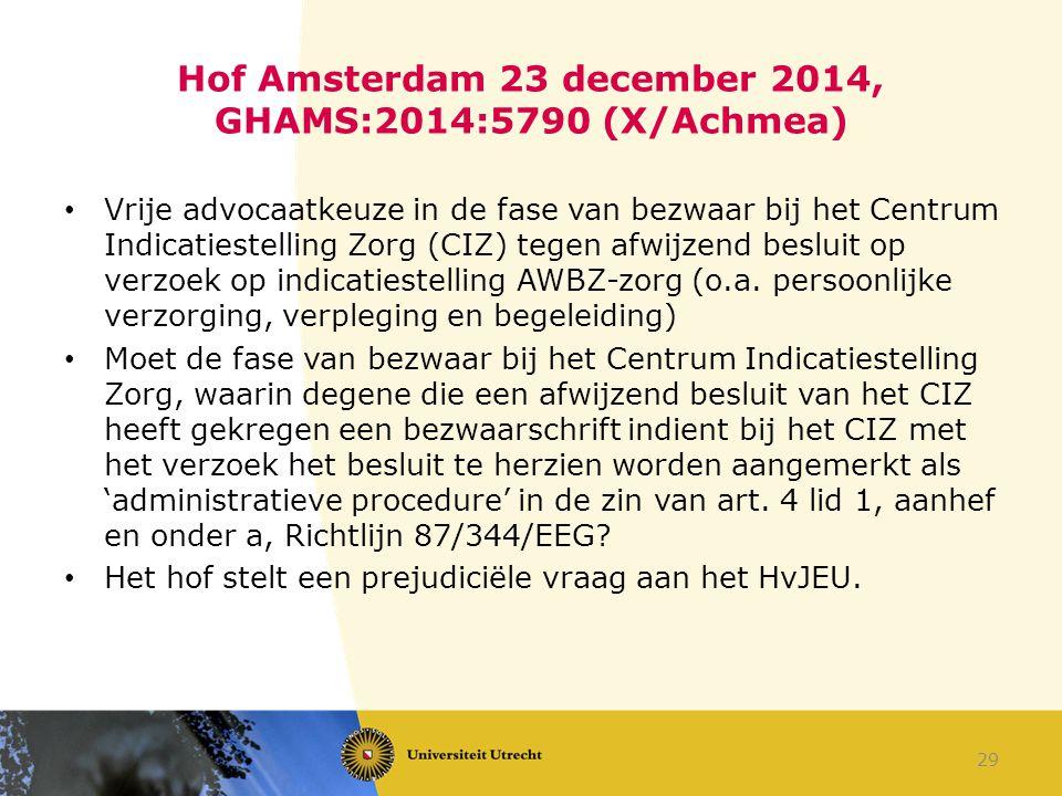 Hof Amsterdam 23 december 2014, GHAMS:2014:5790 (X/Achmea)