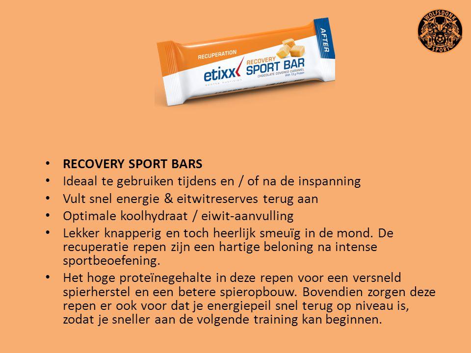 RECOVERY SPORT BARS Ideaal te gebruiken tijdens en / of na de inspanning. Vult snel energie & eitwitreserves terug aan.