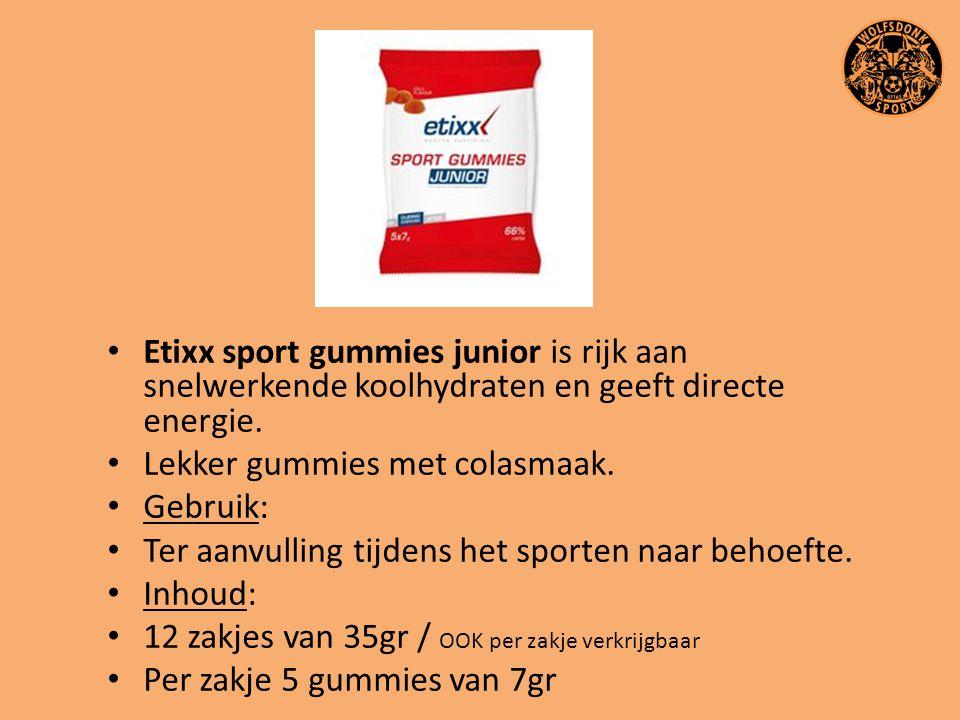 Etixx sport gummies junior is rijk aan snelwerkende koolhydraten en geeft directe energie.