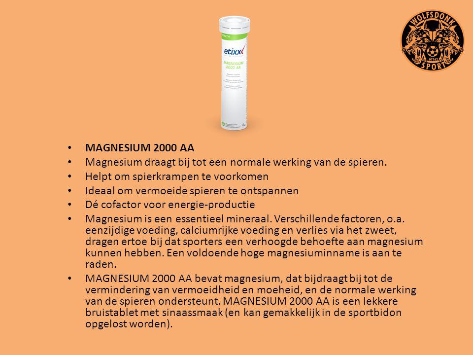 MAGNESIUM 2000 AA Magnesium draagt bij tot een normale werking van de spieren. Helpt om spierkrampen te voorkomen.